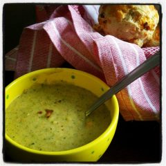 Broccoli Cheddar Soup and Bacon Cheddar Biscuits
